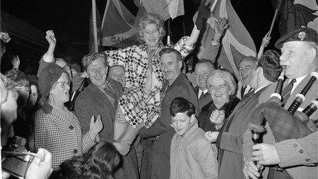 Winnie Ewing arrives in London as SNP member of parliament