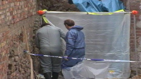 Taped off area where Karen's remains were found