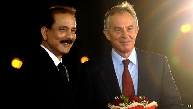 Subrata Roy with Tony Blair at the Balkan Peace Festival, organized by the Sahara Group in Skopje, Macedonia, Wednesday, Oct 2, 2013.