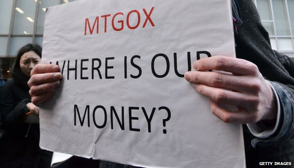 Angry MtGox user with sign