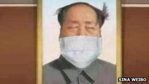 Mao Zedong with anti-smog mask