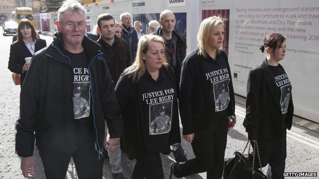 Lee Rigby's stepfather Ian Rigby, his mother Lyn Rigby, and his sisters, Sara McClure and Chelsea Rigby, arrive at the Old Bailey