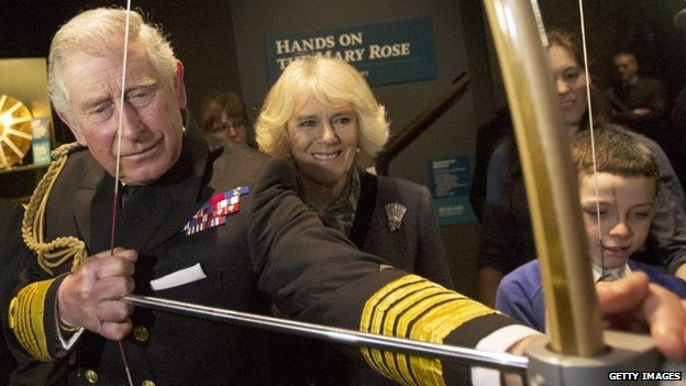 Prince Charles and Camilla at the Mary Rose Museum