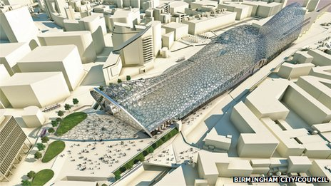 Artist's impression of new station in Birmingham for the HS2 line