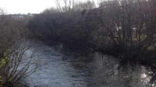 River Rheidol near allotments at Penparcau