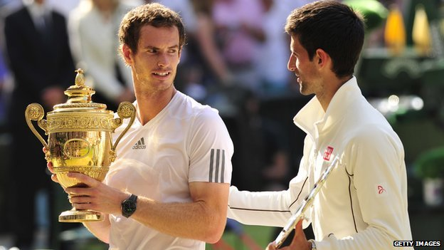 Andy Murray celebrates his win over Novak Djokovic in 2013
