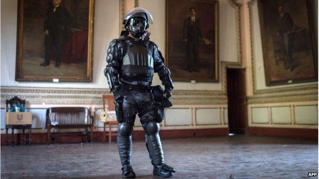 Riot police display gear in Rio de Janeiro