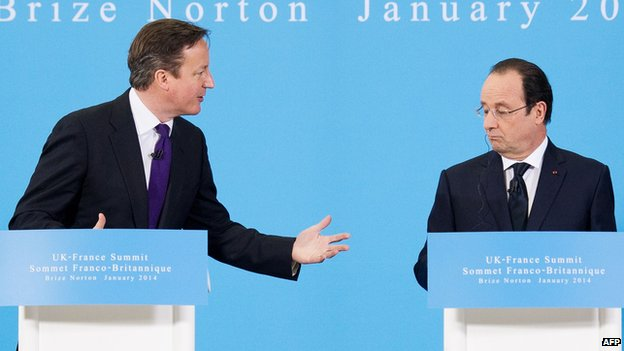 David Cameron and Francois Hollande 31/01/2014