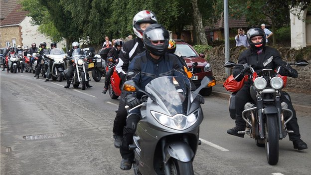 Bikers on the Thankful Villages tour