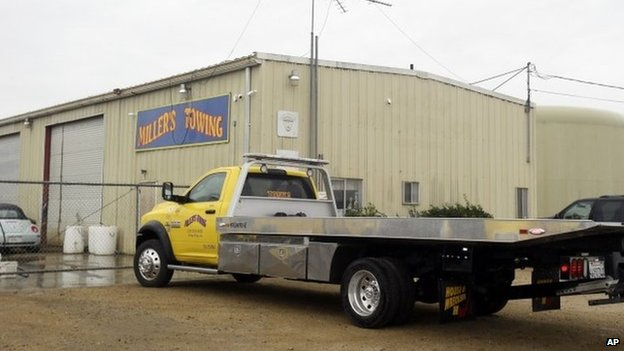 Trucks are parked outside Miller's Towing in King City, California 26 February 2014