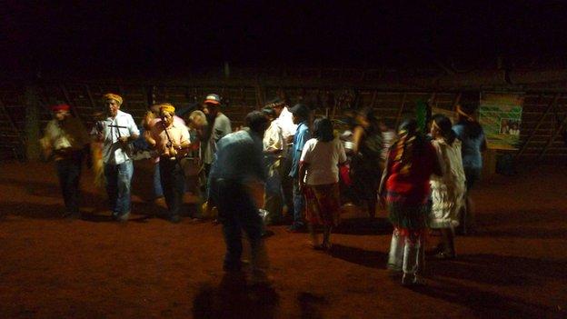 Ceremony held by the Guarani Kaiowa