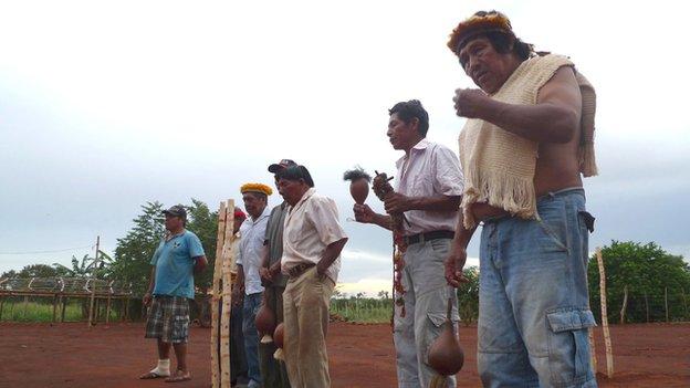 Guarani Kaiowa people during a ceremony
