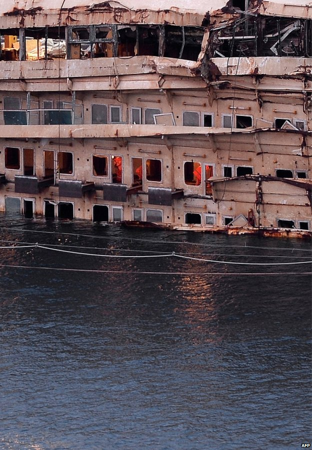 The wreck of the Costa Concordia in Giglio harbour, Italy, 26 February