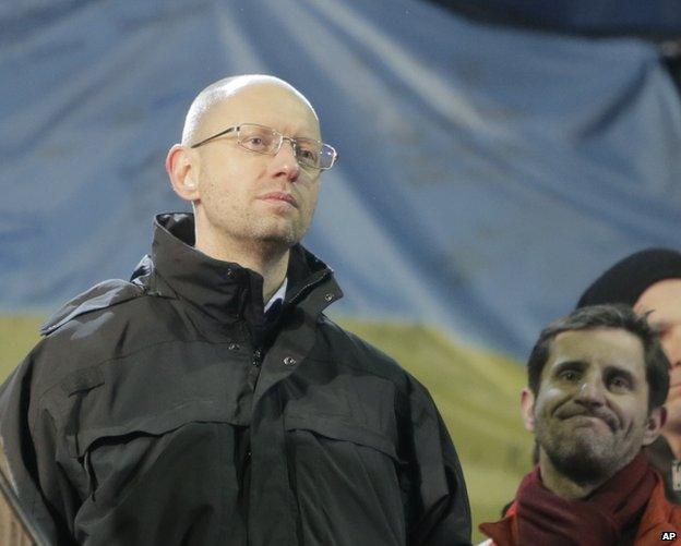 Arseniy Yatsenyuk at a rally in Kiev, 26 February