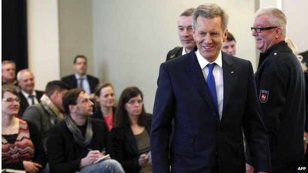 Former German President Christian Wulff arrives in the court for the verdict at his trial