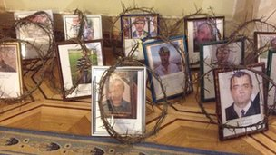Image taken by BBC's Steve Rosenberg shows portraits of people killed in violence in Kiev
