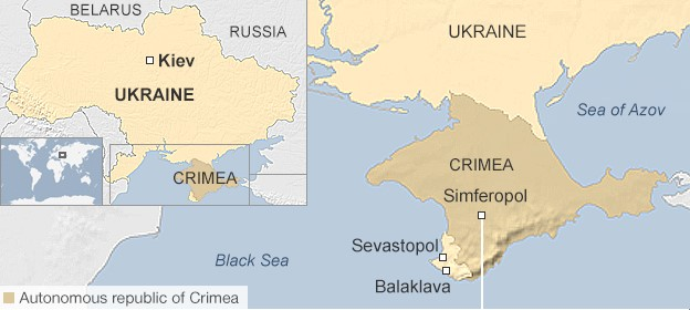 Map showing Crimea