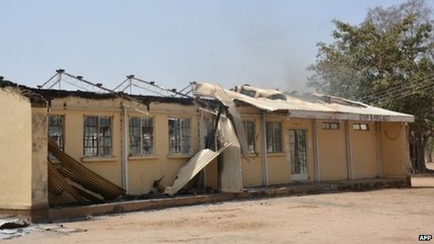 The remains of the burned out Federal Government College in Buni Yadi, Nigeria (25 February 2014)