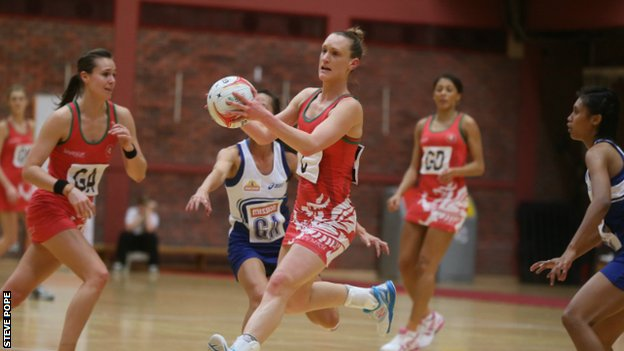 Wales Centre Kyra Jones in action against Singapore
