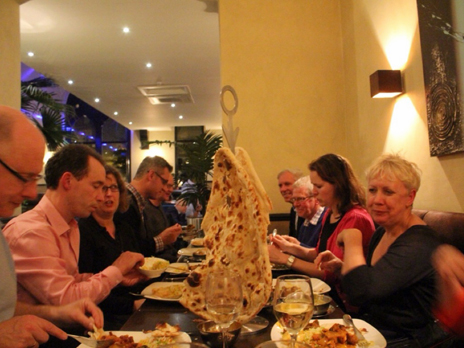Curry (and naan) bread being eaten