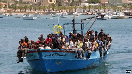 A boat laden with migrants from Tunisia arrives at the Italian island of Lampedusa in 2008