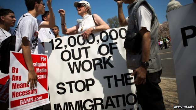 Protesters argue over immigration reform rally in Washington DC on 10 April 2013