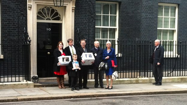 Petition being handed in at Downing St
