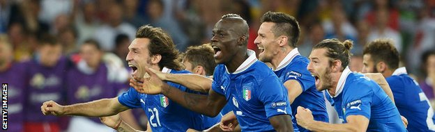 KIEV, UKRAINE - JUNE 24: Mario Balotelli and Andrea Pirlo of Italy (C) celebrates with team-mates after victory during the UEFA EURO 2012 quarter final match between England and Italy.