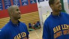 The Harlem Globetrotters give Christian Malcolm some tips on how to improve your jumping skills