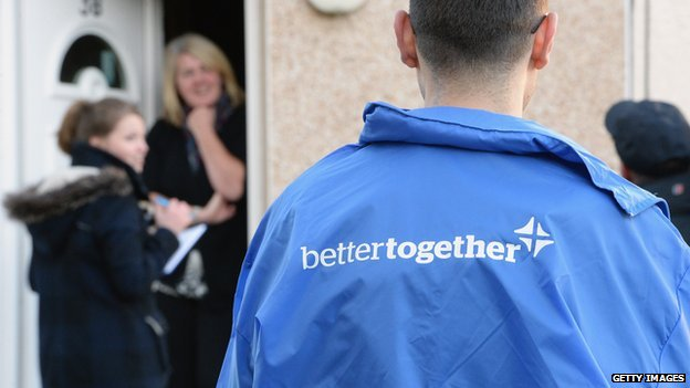 Better Together activists hand out information leaflets in Glasgow on why to vote no in the independence referendum (file photo)