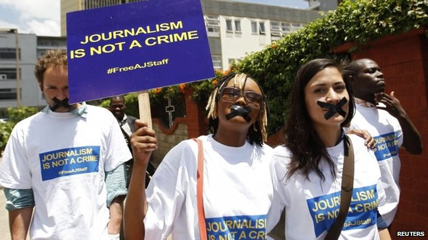 Protest in Nairobi, Kenya, against the detention of al-Jazeera journalists in Egypt (27 February 2014)