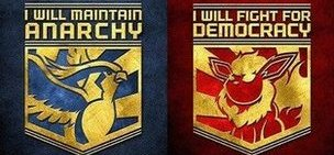 Team anarchy and democracy badges
