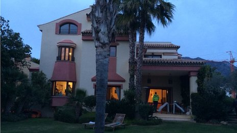 Police search the luxury home of a suspected criminal in Marbella, Spain