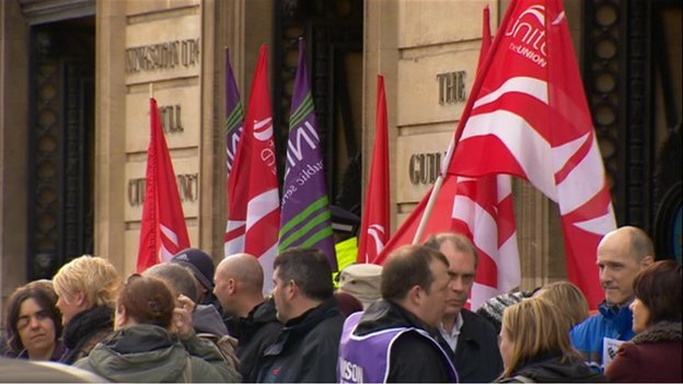 Protest at Guildhall in Hull