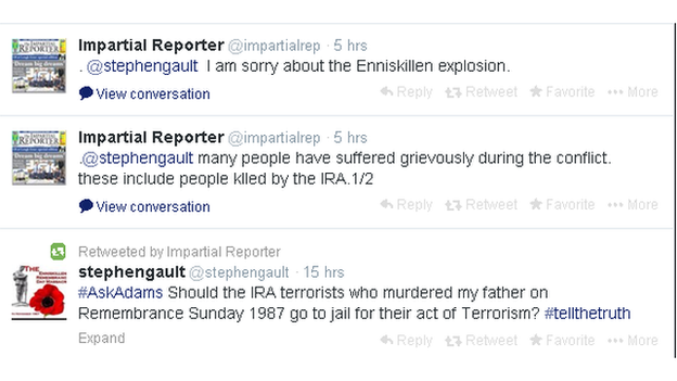 Adams 'sorry about' Enniskillen explosion