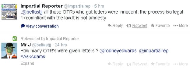 Adams 'OTRs were innocent'
