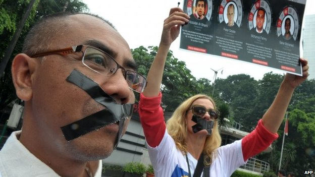 Protest in Jakarta, Indonesia, against the detention of al-Jazeera journalists in Egypt (27 February 2014)