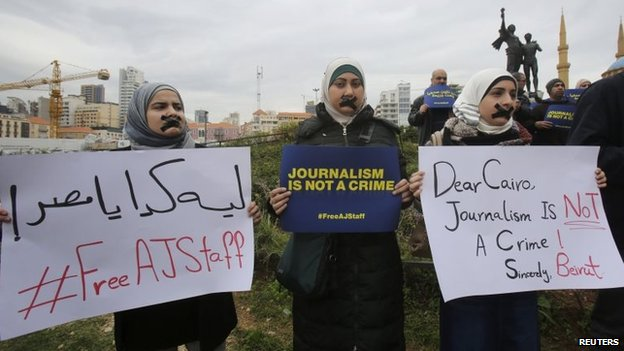 Protest in Beirut, Lebanon, against the detention of al-Jazeera journalists in Egypt (27 February 2014)