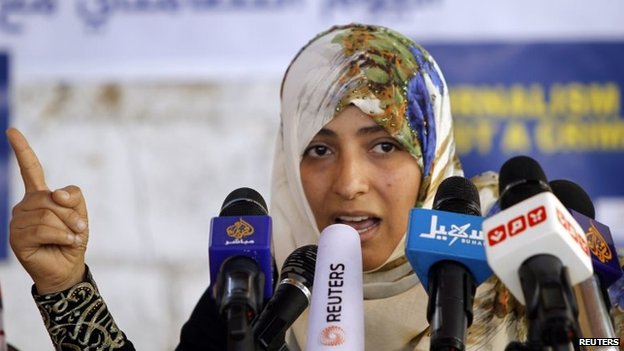 Tawakkol Karman at a news conference in Sanaa, Yemen (27 February 2014)