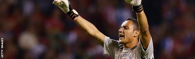 SAN JOSE, COSTA RICA - SEPTEMBER 06: Goalkeeper Keylor Navas #1 reacts after Costa Rica scored a second goal against the United States during the FIFA 2014 World Cup Qualifier at Estadio Nacional