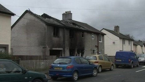 Scene of arson attack