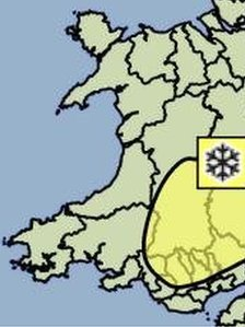 Met office map of the snow warning