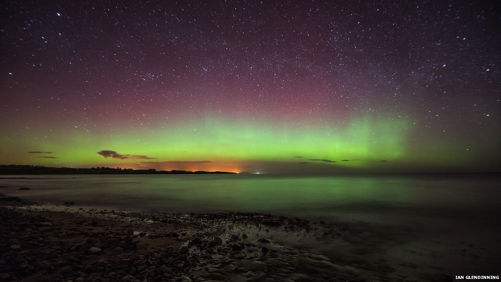 The Northern Lights over Boulmer, Northumberland