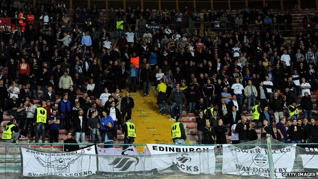 Many of the 800 Swansea City fans missed kick off in Italy following delays