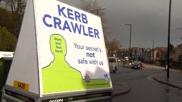 Kerb crawler sign in Bristol