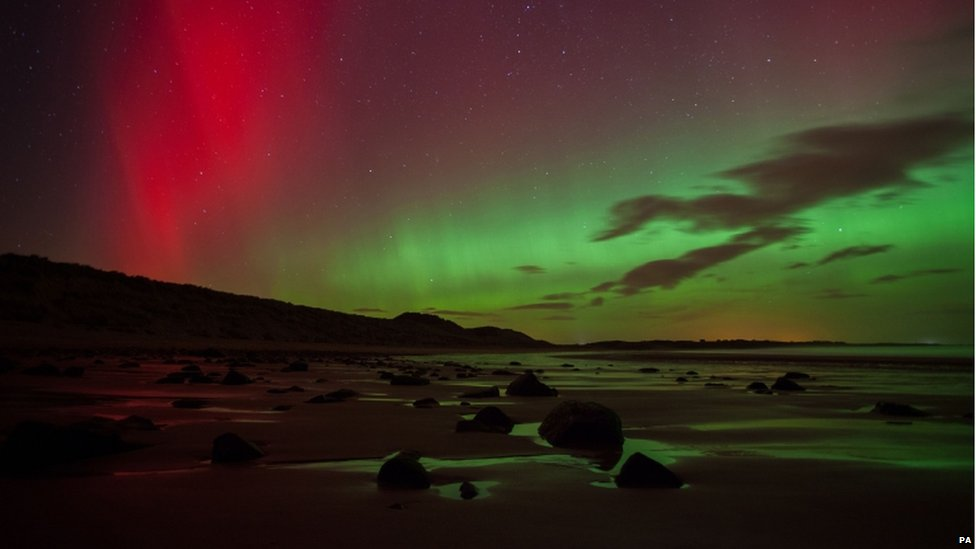 The Northern Light at Embleton Bay in Northumberland.