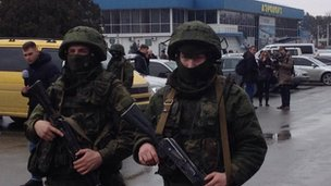 Armed men outside Simferopol airport