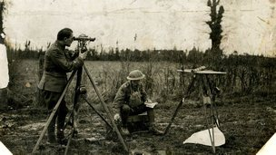 A team 'flash mapping' during map-making in WW1
