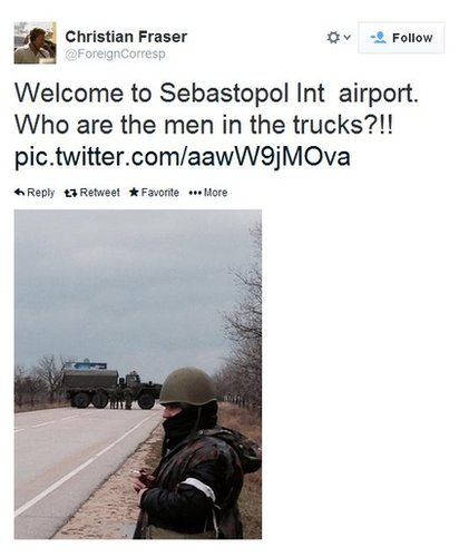"The BBC's Christian Fraser tweets: ""Who are the men in the trucks?"""