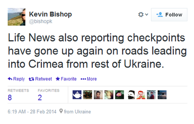 The BBC's Kevin Bishop tweets reports that roads into Crimea are being blockaded